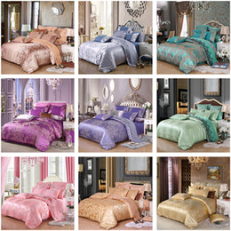 Wholesale Gray Satin Comforter - DHL 4Pcs Silk Soft Full Queen Size Mulberry Silk Satin Comforter Luxury Bedding Set Duvet Cover Bedspread Customized Bag Sheet Pillowcase