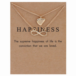Wholesale Double Happiness Card - Luxury brand Dogeared Necklace With card Gold Happiness Heart LVOE Infinity charms Pendant Double layer Necklaces For women Fashion Jewelry