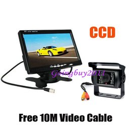 """Wholesale Cables For Ccd Camera - 7"""" LCD Monitor Car Rearview Kit for Long Bus Truck + Waterproof 18 IR LED CCD Reversing Camera with 10m cable Free Shipping"""
