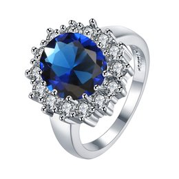 Wholesale Eastern Element - 2016 New 18KRGP lR027 Blue Crystal PlatinumPlated Ring HealthJewelryNickelFree Plating Platinum Rhinestone Austrian Crystal Element