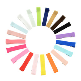 Wholesale Wholesale Hair Barrettes For Kids - 2Inches Small Cute Solid Baby Girls Hairclip DIY Clips Wrapped Safety Hair Clips Kids for Toddler Hairpins Hair Accessory Material KFJ58