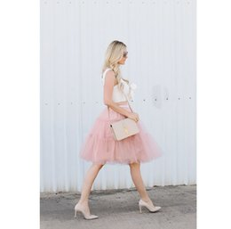 Wholesale Womens Purple Tulle Skirt - Summer Style Pink Tulle Skirt Elastic Waist Multi-Layered Tiered Short Skirt Custom Made Skirts Womens