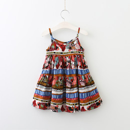 Wholesale Striped Sundress - Everweekend Girls Ruffles Striped Sundress Sweet Baby Boho Summer Holiday Clothes