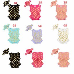 Wholesale Jumpsuits For Spring Sleeves - INS Baby girl FOIL GOLD romper Infant girl one piece pokadot cartoon Rompers toddle clothing for Newborn Jumpsuits Baby Wear