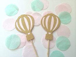Wholesale Hot Pink Cupcakes - Wholesale- Gold Glitter & Pink Hot Air Balloon cupcake toppers fruit Picks Bridal baby shower Bachelorette party decorations24pcs