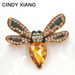Wholesale Wholesalers Vintage Dresses China - CINDY XIANG 2 Colors Available Crystal Bee Brooches for Women Cute Insect Vintage Brooch Pins Summer Series Dress Jewelry Gift