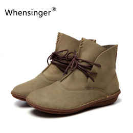 Wholesale L M B Boots - Wholesale- Whensinger - 2016 Women Shoes Spring Female Genuine Leather Boots Handmade Vintage Literary Style Ankle Lace-Up Fashion 506-L