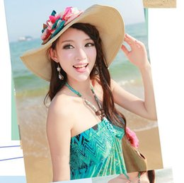 Wholesale Top Hat For Flowers - 2017 Elegant Wide Brim Sun Hat For Women Summer Beach Hat With Flower Decoration Ladies Hats