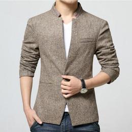 Wholesale korean overcoat mens - Wholesale- Top Fashion Korean Style Mens waist length stand collar Casual Blazers Coat Male Slim Fit Suit Jackets Overcoat Size M-4XL