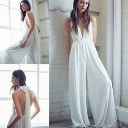 Wholesale Wide Pants Dress - 2017 Summer New Bohemian Lace Formal Evening Gowns Sexy Deep V Halter Wide Leg Trousers Maxi Pants Women Backless Party Dress Ivory