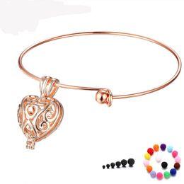 Wholesale Hollow Cuff Bracelet - New unique women cuff bangle Aroma fragrance essential oil diffuser bracelets Fashion DIY hollow heart bangles