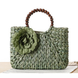 Wholesale Day Bag Beading - 2017 Women Weave Straw Flowers Summer Beach Bags Designer Handbags High Quality Ladies Casual Beading Traveling Tote Bags C57