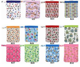 Wholesale Cloth Diaper Wetbag - Baby Diaper Bags Cartoon Animal Owl Printed Double Zippered Wet Dry Bag Waterproof Wet Cloth Diaper Backpack Reusable Diaper Cover WetBag
