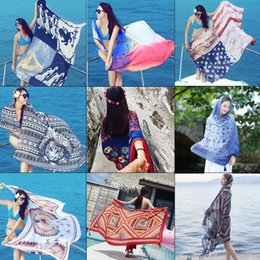 Wholesale Polyester Rectangle Tablecloths - Indian Mandala Beach Towel Tassel Printed Tapestry Hippy Boho Tablecloth Bohemian Serviette Covers Beach Shawl Wrap Yoga Mat