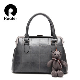 Wholesale Grey Teddy Bears - Wholesale- REALER brand women handbag with a Teddy Bear high quality designer handbag artificial leather tote bag female gray handbag