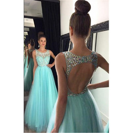 Wholesale long aqua beaded prom dress - Aqua Prom Dresses Tulle A-line Backless 2017 Sheer Beaded Crystals Long Floor Length Special Occasion Party Gowns Vestido Fiesta Largo Mujer