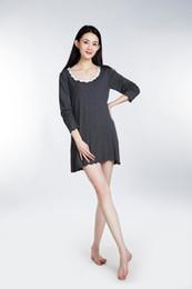 Wholesale Long Sleeve Black Nightgown - 100% Lenzing Modal Women Sleepshirts Lady Pajamas Nightgown Robe Women's Nightgown Cotton Nightwear long Sleeve Sleepwear