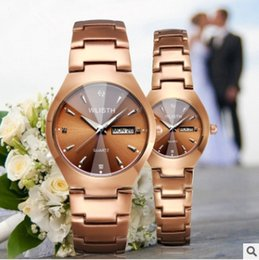 Wholesale New Pair Couple Watch - Lovers Watch Calendar Couple Watches for Lovers Coffee Golden Watch Men and Women in Pair