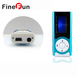 Wholesale Portable Mini Media Speaker - Wholesale- FineFun Portable Shiny Mini USB Clip LCD Screen MP3 Media Player Support 16GB Micro SD Card Sports MP3 Music Player MP3 WMA
