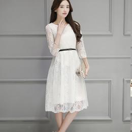 Wholesale Summer Dresses For Big Women - Vintage White Lace Dress Plus size Summer Spring 2017 Three Quarter O-neck Elegant Dresses for Women Big size S-3XL Black Pink
