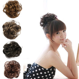 Wholesale Wholesale Ponytail Extensions - Free Shipping Hair Wave Ponytail Holders Scrunchy Piece Bun Pony Tail Extensions Hairpiece Black Brown Flaxen