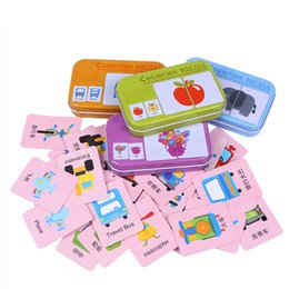 Wholesale Traffic Toys - 32pcs box Kids Baby Cartoon Educational Animal Fruits Traffic Shape Pattern Graph Matching Cards Puzzles Game Toys for Children