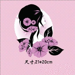 Wholesale Heat Transfers T Shirts Wholesale - Flower Patches For Clothing 21*20cm T-shirt Dresses Patch DIY Accessory Decoration A-level Washable Stickers Heat Transfer
