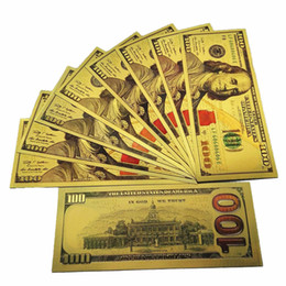 Wholesale Usa Arts - New USA Dollar $100 Gold Foil Banknotes Commemorative Collections Banknotes Home Decoration Arts Gifts