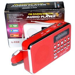 alto-falantes de rádio ds Desconto L-938 Mini Portátil Rádio FM Recarregável Digital LED MP3 Speaker Player Suporte TF Micro SD Card Playing