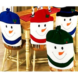 Wholesale Colorful Dining Table - Wholesale- Christmas Decoration Supplies for dining table home party Christmas Colorful nowman Shaped chair cover Back Seat Coverings