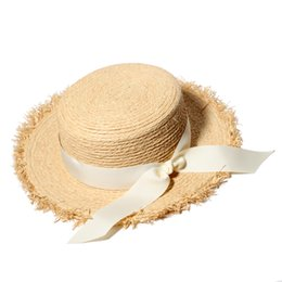 Wholesale Straw Sombreros - Wholesale- Summer Sun Hats For Women Natural Raffia Straw Hat Ladies Elegant Bow-Knot Beach Caps Sombreros Mujer Verano