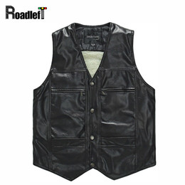 Wholesale Men Sleeveless Leather Jacket - Wholesale- Male PU leather thickening wool liner vests Men winter windproof thermal warm vest suit Mens casual sleeveless jacket waistcoat
