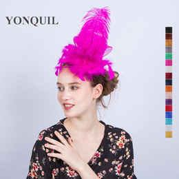 Wholesale Pink Mini Top Hats - 2017 Women hot pink Mini top church hats festival dance party fascinator hats with hair clips feather hair accessories for children SYF123