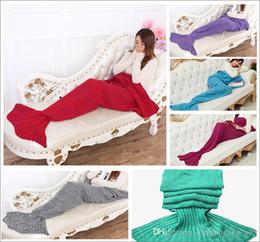 Costume de canapé en Ligne-Adulte et enfants Crochet queue de sirène couvertures sacs de couchage Costume Cocoon Matelas tricoté canapé couvertures sac de couchage à la main salon