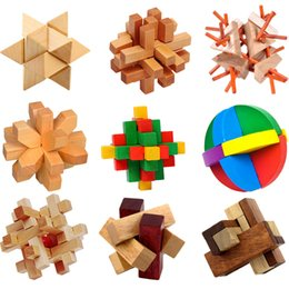 Wholesale Toy Building Blocks Wood - 64pcs lot Luban Lock Chinese Traditional Toy Unique 3D Wooden Blocks Classical Intellectual Wooden Cube Educational Toy Set