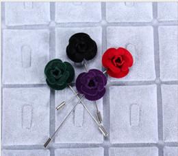 Wholesale Design Lapel Pins - Hot Lapel Flower Man Woman Camellia Handmade Boutonniere Stick Brooch Design Pins for Men's women's Accessories Fashion Xmas Gift AOP--039