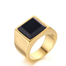 Wholesale Channel Set Princess Cut - Meaeguet Jewelry Vintage RingGold Color Stainless Steel Princess Cut Man's Black Onyx Wedding Ring Gent's Gift RC-267