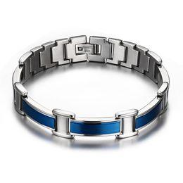 Wholesale Germanium Jewelry - Classic Healthy Care Bracelet Bangle Magnetic Germanium Trendy Blue Men Jewelry 316L Stainless Steel Magnetic Bracelet Christmas Gift B836S