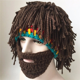 Wholesale Hats Pictures - Hand Beard Wig Hat Wool Knitted Hat Taking Pictures Funny Beard Rasta Beanie Wind Mask Knit Cap free shipping