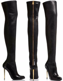 Wholesale Sexy Brown Thigh High Boots - Winter New Leather   Suede Sexy Women Over the Knee Boots Metallic Thin High Heels Back Zipper Women Boots Black Botas Shoes