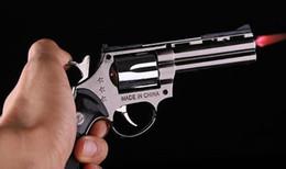 Wholesale Lighter Butane - Windproof Cigarette Cigar Lighter With Holster Pistol Gun Revolver Shaped Smoking Refillable Butane Gas Jet Flame LighterFree Shipping