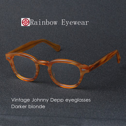 Wholesale Mirrored Clip Sunglasses - Vintage Eyeglasses Frames Johnny Depp Eyewear S Blonde and Crystal Artists Mens Women Retro Optical Frame Clip on Sunglasses