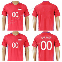 Wholesale National Team Soccer Uniforms - 2018 Soccer Singapore Jersey 2017 Make Customized National Team Thai Football Shirt Uniform Kits Foot Tshirt Quality Red Color