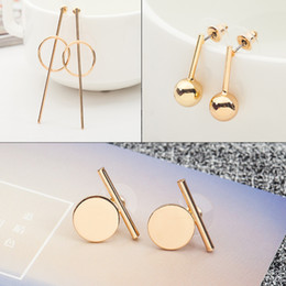 Wholesale Korean Style Cuff Earrings - Linnor Band 3 Styles Simple Wafer Stud Earring Gold Alloy Geometry Charm Cuff Korean Small Earing Mariage Gifts Pending Aneis