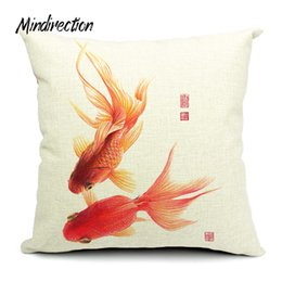 Wholesale Chinese Throw - Cotton Linen Square Design Throw Pillow Case Decorative Cushion Cover Pillowcase Chinese Goldfish Style Home Living Textile