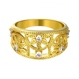 Wholesale Yellow Gold Jewellery Sets - New Yellow and Rose Gold Plated Rings Flower Engagement Ring Female Jewellery Mix Lots Nuevos Anillos R096