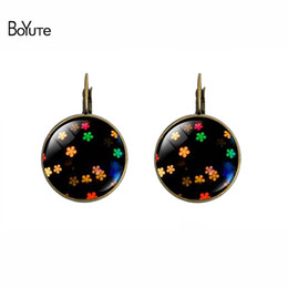 Wholesale Images Christmas Gifts - BoYuTe (12 Pairs Lot) New 2017 Women Jewelry Image Glass Cabochon Earrings Vintage Earring DIY Copper Earrings