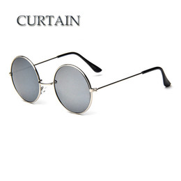 Wholesale Glass Curtains - Wholesale-CURTAIN New Brand Designer Classic Round Sunglasses Men Vintage Retro John Lennon Glasses Women Driving Metal Eyewear -LD032