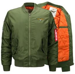 Wholesale Black Windbreakers - Men's Jacket Autumn Winter Coat Bomber Air Force Jackets Pilot Flying AM1 Tops Overcoat Windbreakers Brand Clothing 5xl 6xl Warm