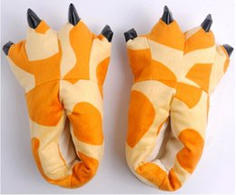 Wholesale Girls Fleece Slippers - Winter Family Matching Cartoon Thickening Antiskid Fluffy Kids Indoor Coral Fleece Dinosaur Claws Shoes Baby Girl Boys Slippers Children